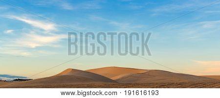 Desert Sand Dunes Road At Sunset