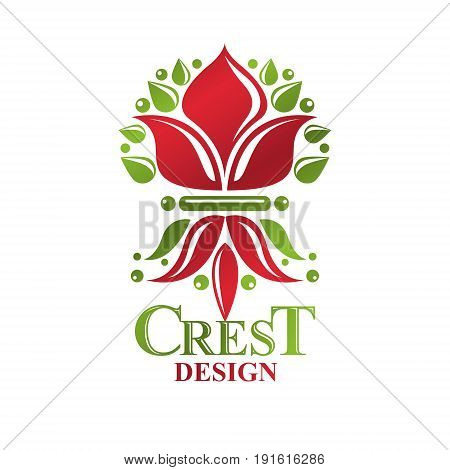 Retro vintage Insignia created with lily flower. Vector design element organic natural product emblem.