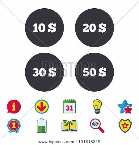 Money in Dollars icons. 10, 20, 30 and 50 USD symbols. Money signs Calendar, Information and Download signs. Stars, Award and Book icons. Light bulb, Shield and Search. Vector
