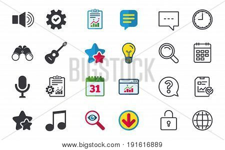 Musical elements icons. Microphone and Sound speaker symbols. Music note and acoustic guitar signs. Chat, Report and Calendar signs. Stars, Statistics and Download icons. Question, Clock and Globe