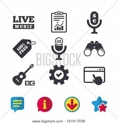 Musical elements icons. Microphone and Live music symbols. Paid music and acoustic guitar signs. Browser window, Report and Service signs. Binoculars, Information and Download icons. Stars and Chat