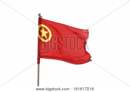 China flag blowing in the wind on top of Jade dragon mountain, Lijiang Yunnan China.