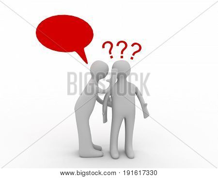 3d people - men person whispered at ear and question marks. . 3d rendered illustration