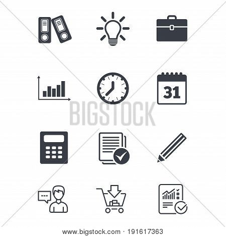 Office, documents and business icons. Accounting, calculator and case signs. Ideas, calendar and statistics symbols. Customer service, Shopping cart and Report line signs. Vector