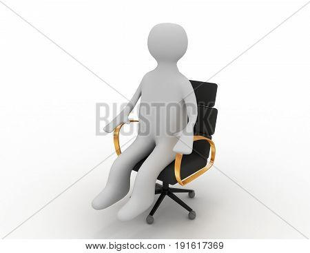 3d man sitting on business chair . 3d rendered illustration