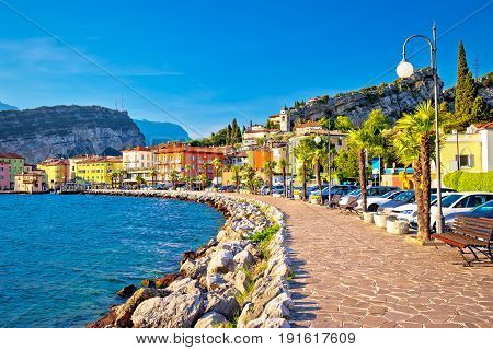 Colorful Town Of Torbole On Lago Di Garda Waterfront View