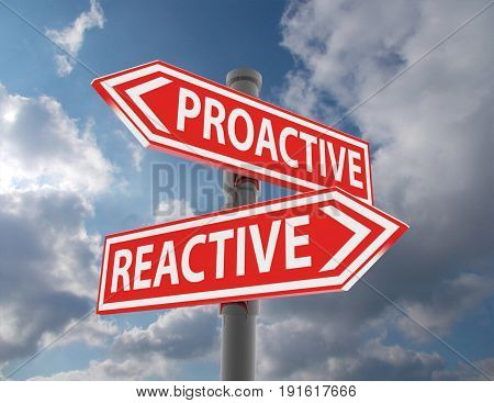 two road signs - proactive reactive choice . 3d rendered illustration