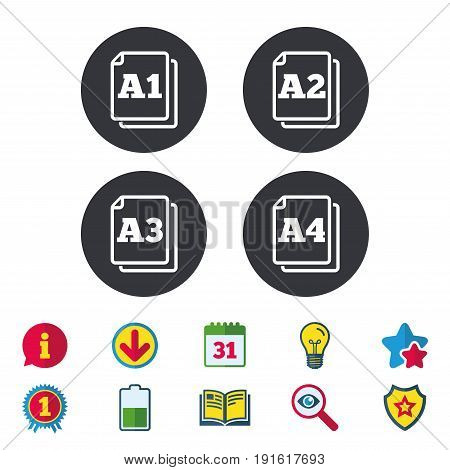 Paper size standard icons. Document symbols. A1, A2, A3 and A4 page signs. Calendar, Information and Download signs. Stars, Award and Book icons. Light bulb, Shield and Search. Vector