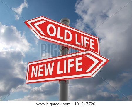 two road signs - new life old life choice . 3d rendered illustration