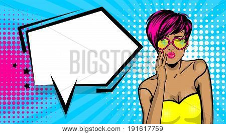 Cartoon vintage poster, colored white kitch cool girl heart sunglasses. Speech bubble comic text vector font illustration. Sale banner. Kiss sexy lips lipstick. Pop art style WOW face.
