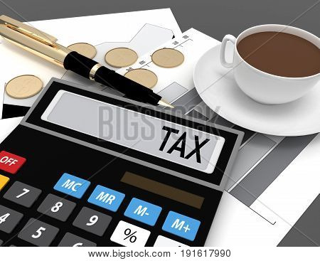 3d calculator with the word tax on the display . 3d rendered illustration