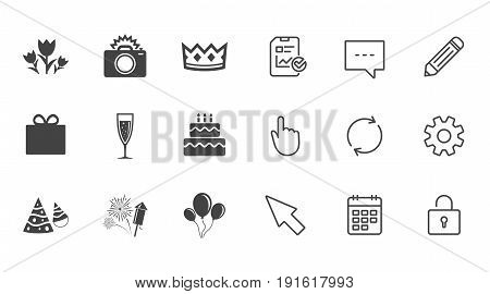 Party celebration, birthday icons. Fireworks, air balloon and champagne glass signs. Gift box, flowers and photo camera symbols. Chat, Report and Calendar line signs. Service, Pencil and Locker icons