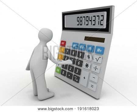 3d man working and calculate on calculator concept on white background . 3d rendered illustration
