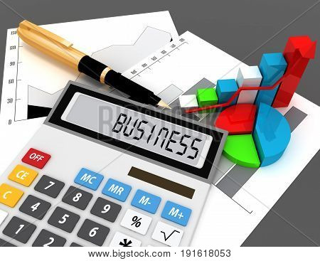 3d calculator with word business on display . 3d rendered illustration