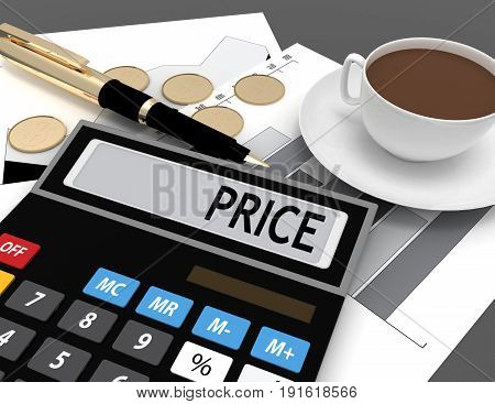 3d calculator with the word price on the display . 3d rendered illustration