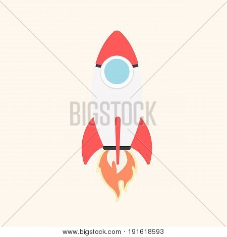 Cartoon rocket space ship take off, isolated vector illustration. Simple retro spaceship icon. Vector illustration in a flat style.