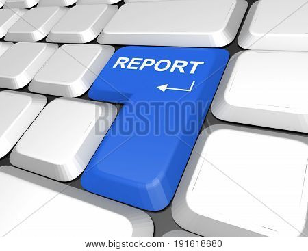 keyboard. report concept . 3d rendered illustration