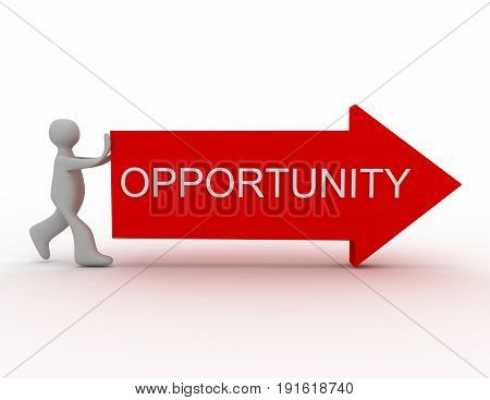 opportunity concept .. man push arrow . 3d renderd illustration