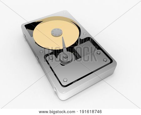hard disk on white background . 3d rendered illustration