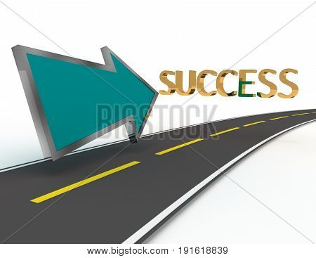 road to success . 3d rendered illustration