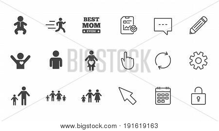 People, family icons. Maternity, person and baby signs. Best mom, father and mother symbols. Chat, Report and Calendar line signs. Service, Pencil and Locker icons. Click, Rotation and Cursor. Vector