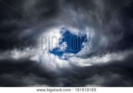 Blurred Swirl in the Dark Storm Clouds