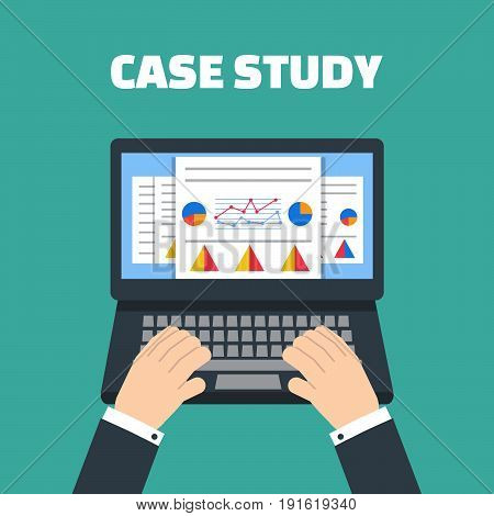 Case study concept vector with computer device
