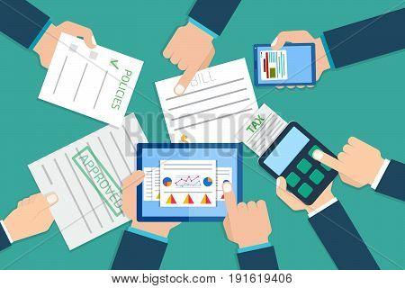 Financial research report. Financial examiner. Vector illustration.