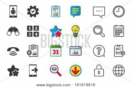 Phone icons. Smartphone video call sign. Call center support symbol. Cellphone keyboard symbol. Chat, Report and Calendar signs. Stars, Statistics and Download icons. Question, Clock and Globe. Vector