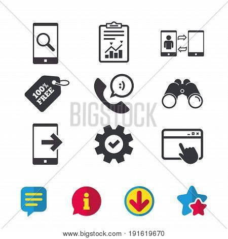 Phone icons. Smartphone with speech bubble sign. Call center support symbol. Synchronization symbol. Browser window, Report and Service signs. Binoculars, Information and Download icons. Vector