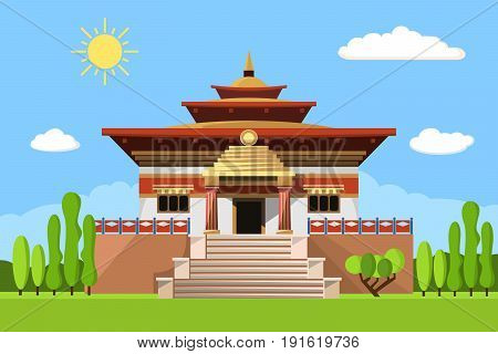 Temple of Heaven icon isolated on white background. Vector illustration for religion design. China culture building architecture. Famous asia landmark. Beijing chinese buddhism pagoda