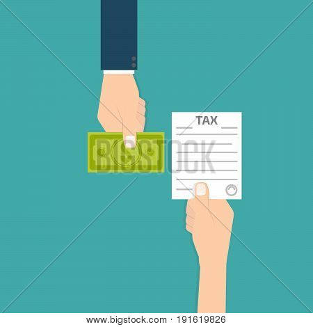 tax refund icon. Money, hand. Vectror illustration