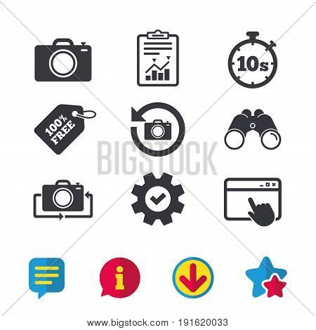 Photo camera icon. Flip turn or refresh symbols. Stopwatch timer 10 seconds sign. Browser window, Report and Service signs. Binoculars, Information and Download icons. Stars and Chat. Vector
