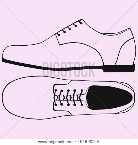 shoes with shoelace vector silhouette isolated on background