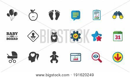 Pregnancy, maternity and baby care icons. Air balloon, baby carriage and pacifier signs. Footprint, apple and newborn symbols. Calendar, Report and Download signs. Stars, Service and Search icons