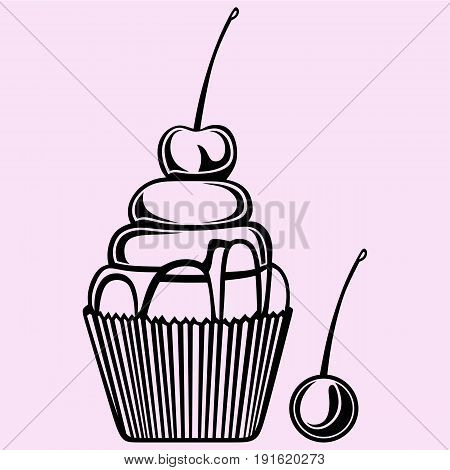 cupcake with cherry vector silhouette isolated on background