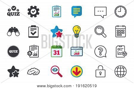 Quiz icons. Human brain think. Checklist symbol. Survey poll or questionnaire feedback form. Questions and answers game sign. Chat, Report and Calendar signs. Stars, Statistics and Download icons
