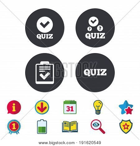 Quiz icons. Checklist with check mark symbol. Survey poll or questionnaire feedback form sign. Calendar, Information and Download signs. Stars, Award and Book icons. Light bulb, Shield and Search