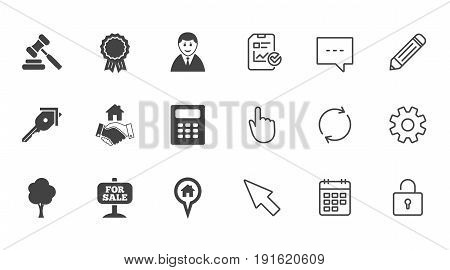 Real estate, auction icons. Handshake, for sale and calculator signs. Key, tree and award medal symbols. Chat, Report and Calendar line signs. Service, Pencil and Locker icons. Vector