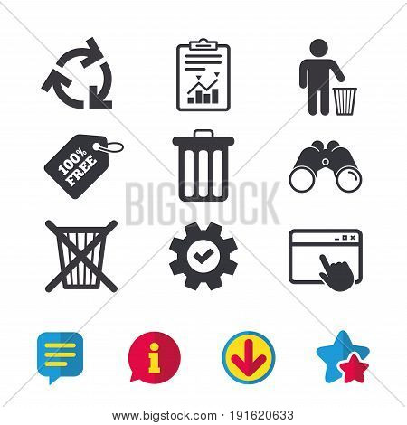 Recycle bin icons. Reuse or reduce symbols. Human throw in trash can. Recycling signs. Browser window, Report and Service signs. Binoculars, Information and Download icons. Stars and Chat. Vector