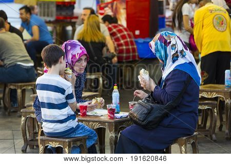 ISTANBUL, TURKEY - 2 JUNE , 2016:Food courts with traditional sandwiches with fish in Istanbul near the Galata Bridge