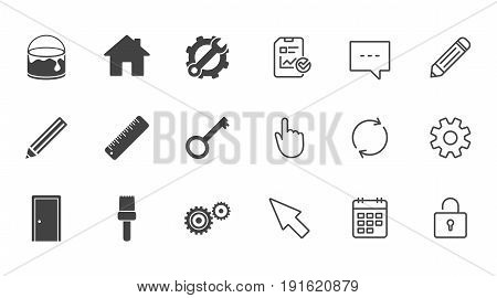 Repair, construction icons. Service, key and door signs. Painting, brush and pencil symbols. Chat, Report and Calendar line signs. Service, Pencil and Locker icons. Click, Rotation and Cursor. Vector