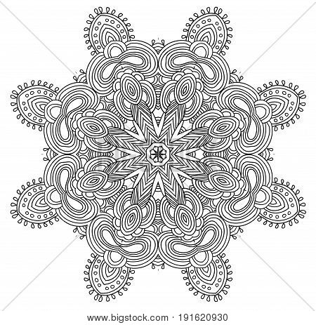 Black and white abstract pattern with leaves and flowers. Doodle. Hand drawn zentagles. Coloring book. Mandala. Vector. Can be used as adult coloring book, coloring page. Sacred geometry.