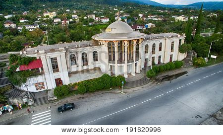 the old train station with passing close to the road in the city of New Athos Abkhazia