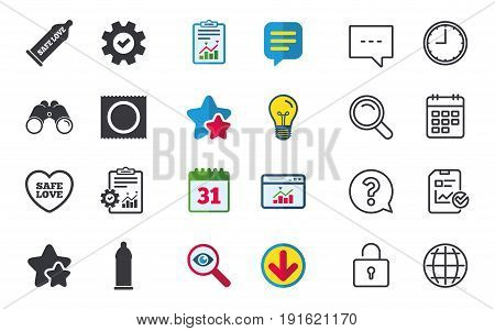 Safe sex love icons. Condom in package symbol. Fertilization or insemination. Heart sign. Chat, Report and Calendar signs. Stars, Statistics and Download icons. Question, Clock and Globe. Vector