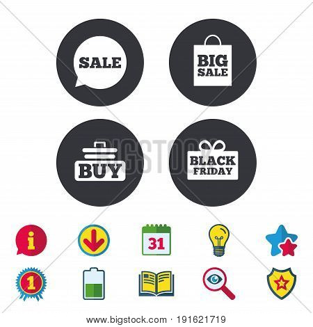 Sale speech bubble icons. Buy cart symbols. Black friday gift box signs. Big sale shopping bag. Calendar, Information and Download signs. Stars, Award and Book icons. Light bulb, Shield and Search