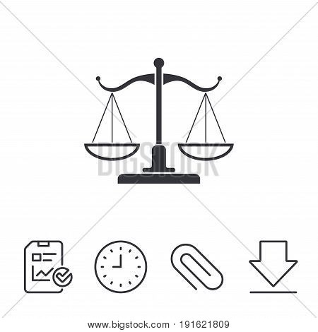 Scales of Justice sign icon. Court of law symbol. Report, Time and Download line signs. Paper Clip linear icon. Vector