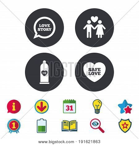 Condom safe sex icons. Lovers couple signs. Male love female. Speech bubble with heart. Calendar, Information and Download signs. Stars, Award and Book icons. Light bulb, Shield and Search. Vector