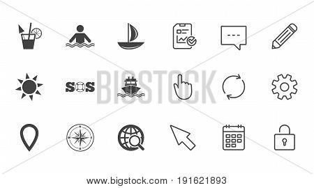 Cruise trip, ship and yacht icons. Travel, cocktail and sun signs. Sos, windrose compass and swimming symbols. Chat, Report and Calendar line signs. Service, Pencil and Locker icons. Vector