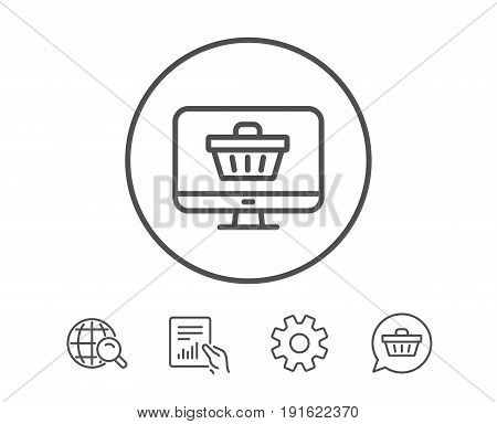 Online Shopping cart line icon. Monitor sign. Supermarket basket symbol. Hold Report, Service and Global search line signs. Shopping cart icon. Editable stroke. Vector